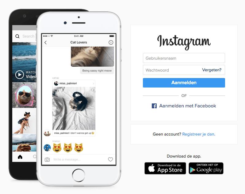 instagram aanmaken computer beginscherm