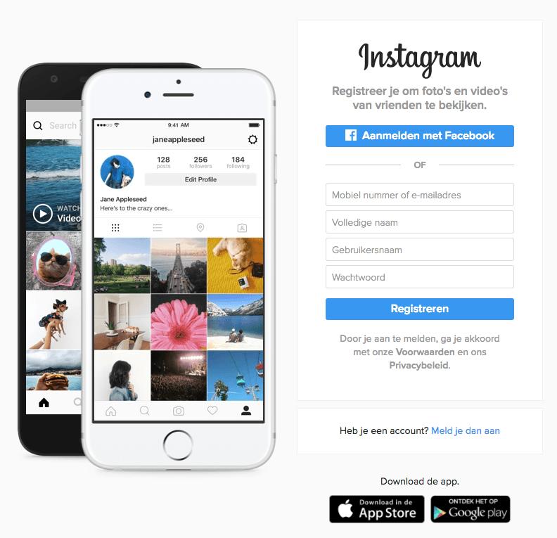 instagram aanmaken computer gegevens invullen