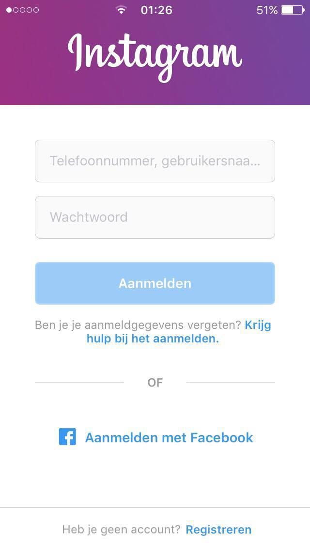 instagram aanmaken met smartphone beginscherm