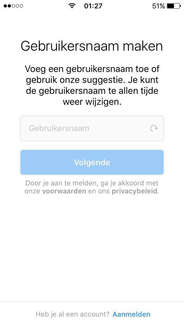 instagram aanmaken met smartphone gebruikersnaam maken