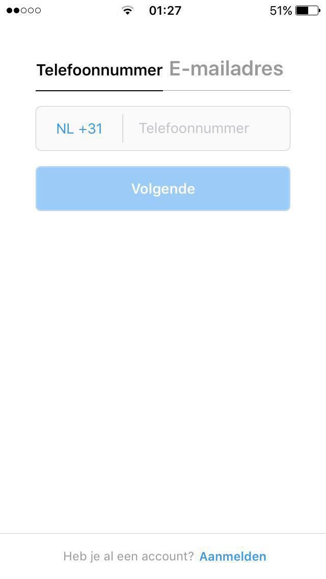 instagram aanmaken met smartphone telefoonnummer of email invullen